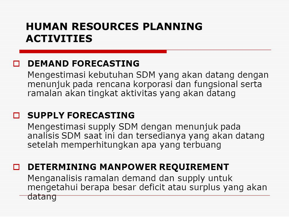 HUMAN RESOURCES PLANNING ACTIVITIES