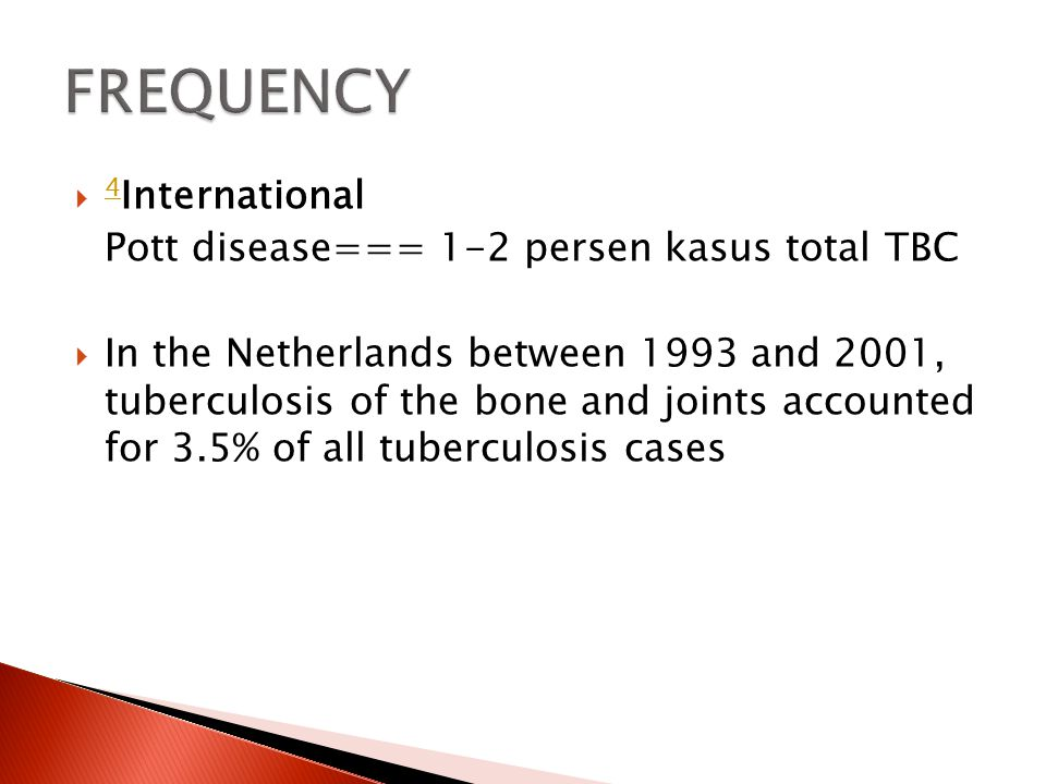 FREQUENCY 4International Pott disease=== 1-2 persen kasus total TBC