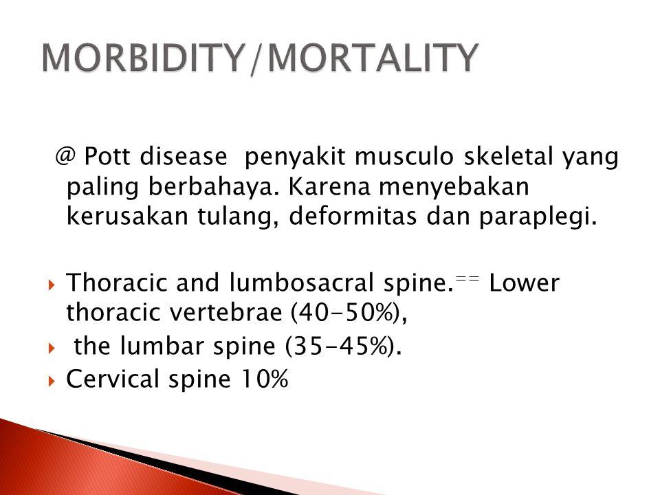 MORBIDITY/MORTALITY @ Pott disease penyakit musculo skeletal yang paling berbahaya. Karena menyebakan kerusakan tulang, deformitas dan paraplegi.