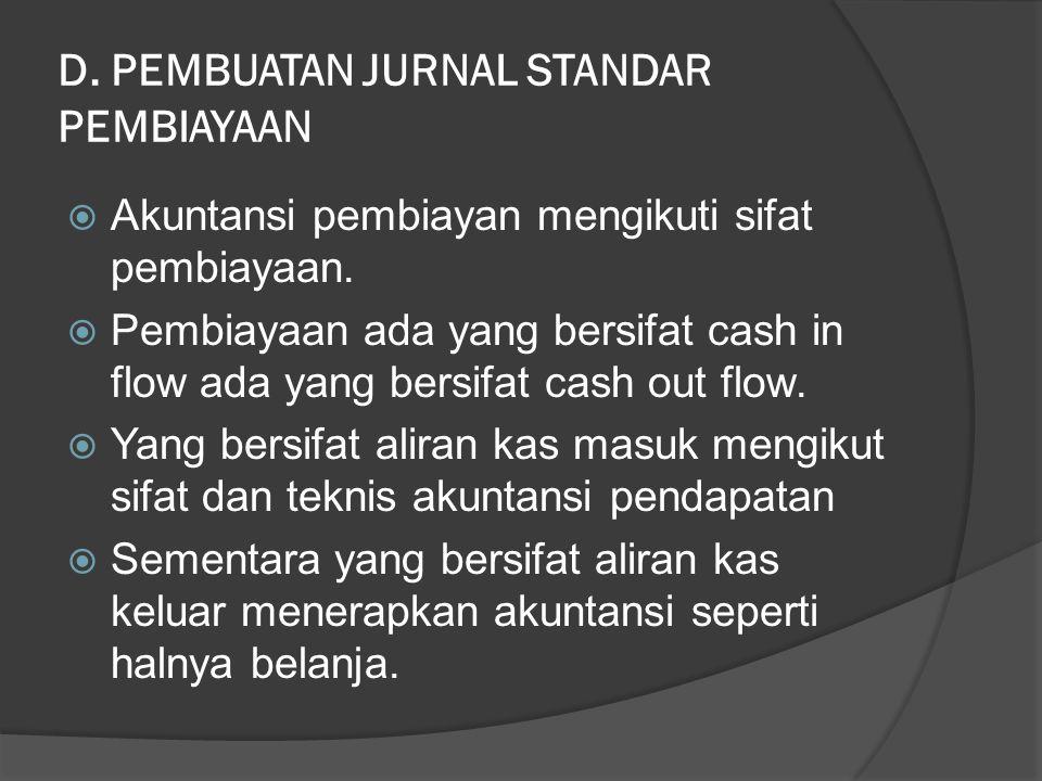 D. PEMBUATAN JURNAL STANDAR PEMBIAYAAN