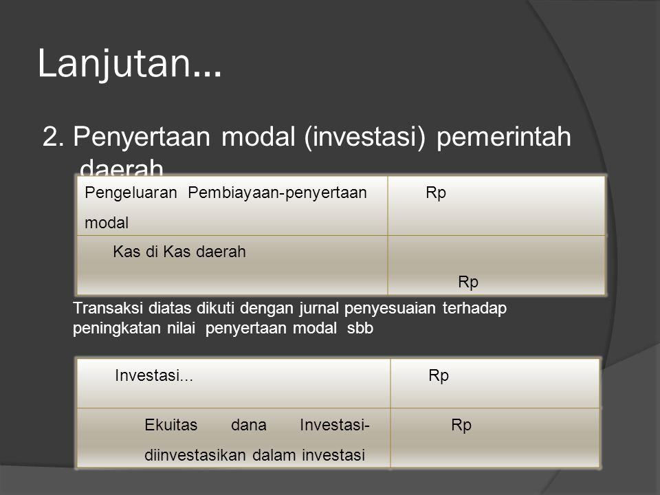 Lanjutan… 2. Penyertaan modal (investasi) pemerintah daerah