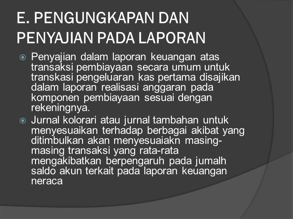 E. PENGUNGKAPAN DAN PENYAJIAN PADA LAPORAN