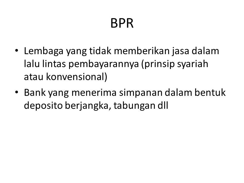 BPR Lembaga yang tidak memberikan jasa dalam lalu lintas pembayarannya (prinsip syariah atau konvensional)