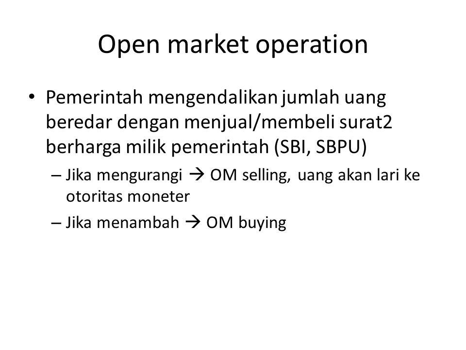 Open market operation Pemerintah mengendalikan jumlah uang beredar dengan menjual/membeli surat2 berharga milik pemerintah (SBI, SBPU)