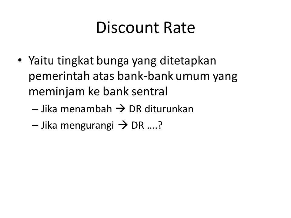 Discount Rate Yaitu tingkat bunga yang ditetapkan pemerintah atas bank-bank umum yang meminjam ke bank sentral.