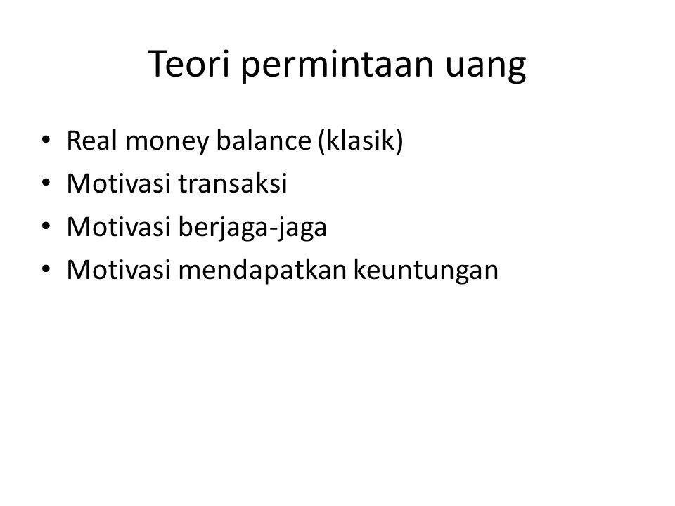 Teori permintaan uang Real money balance (klasik) Motivasi transaksi