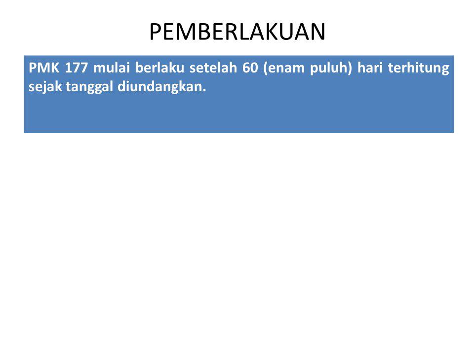 PEMBERLAKUAN PMK 177 mulai berlaku setelah 60 (enam puluh) hari terhitung sejak tanggal diundangkan.