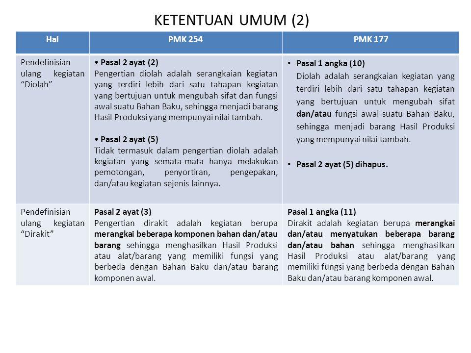KETENTUAN UMUM (2) Hal PMK 254 PMK 177