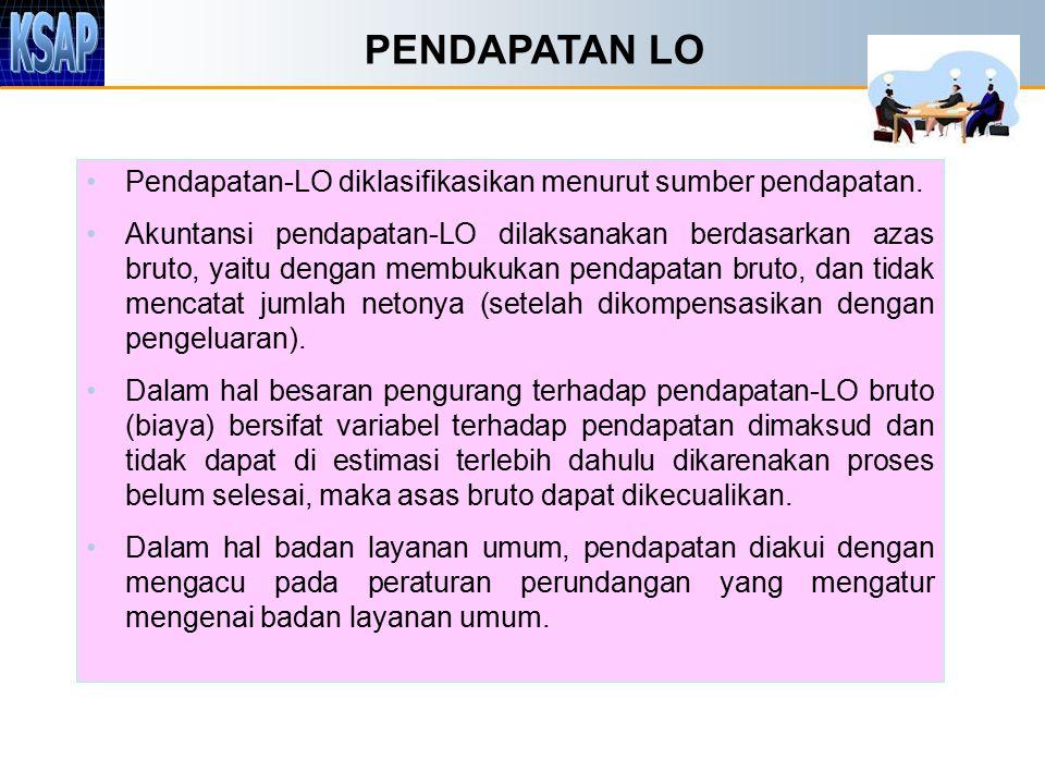 PENDAPATAN LO Pendapatan-LO diklasifikasikan menurut sumber pendapatan.