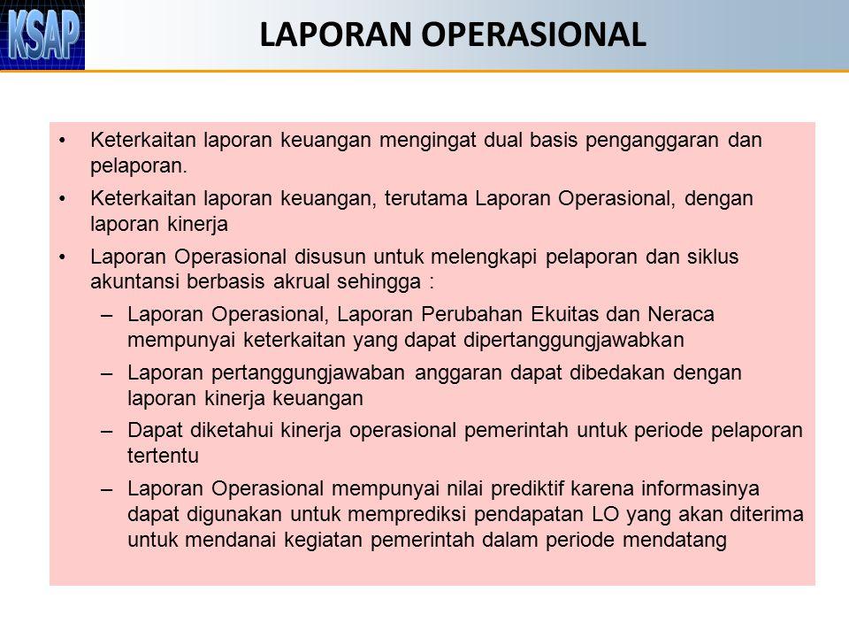LAPORAN OPERASIONAL Keterkaitan laporan keuangan mengingat dual basis penganggaran dan pelaporan.