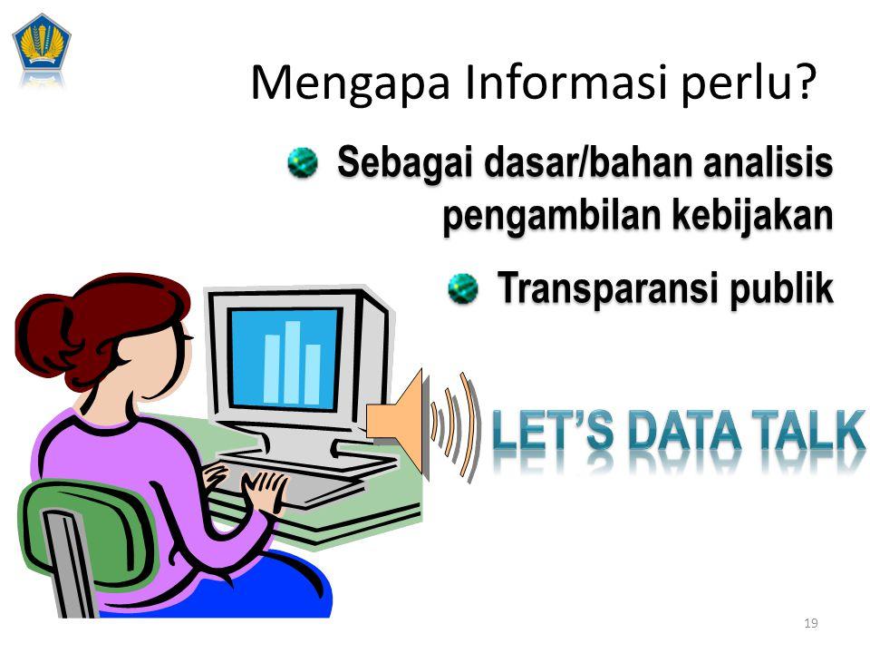 Sebagai dasar/bahan analisis pengambilan kebijakan Transparansi publik