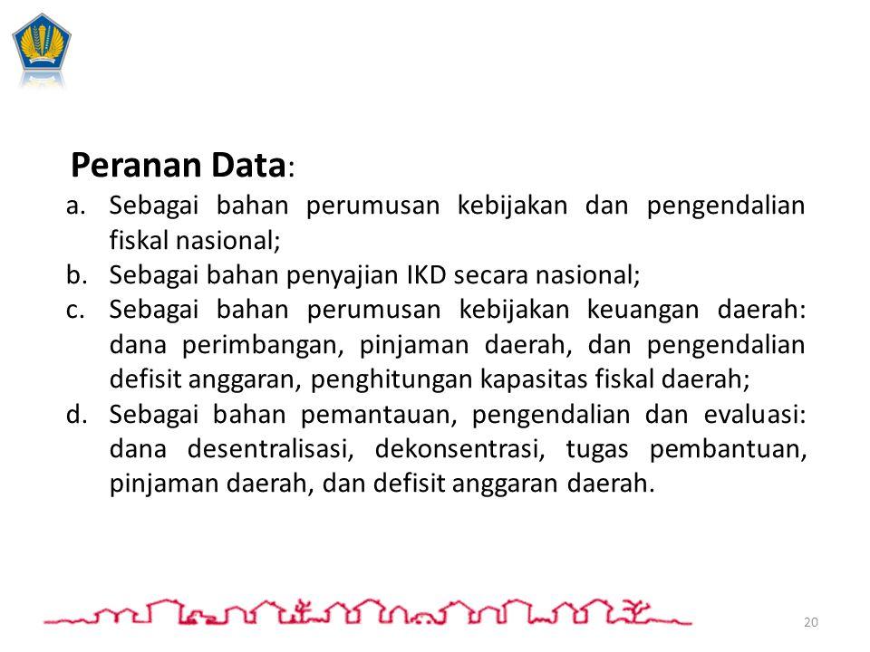 Peranan Data: Sebagai bahan perumusan kebijakan dan pengendalian fiskal nasional; Sebagai bahan penyajian IKD secara nasional;