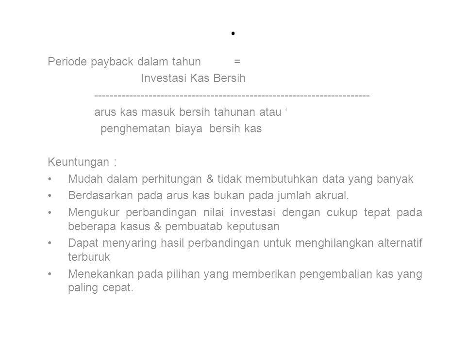 . Periode payback dalam tahun = Investasi Kas Bersih