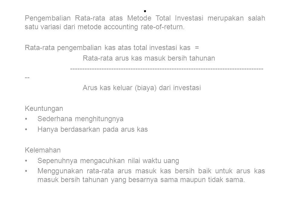 Pengembalian Rata-rata atas Metode Total Investasi merupakan salah satu variasi dari metode accounting rate-of-return.