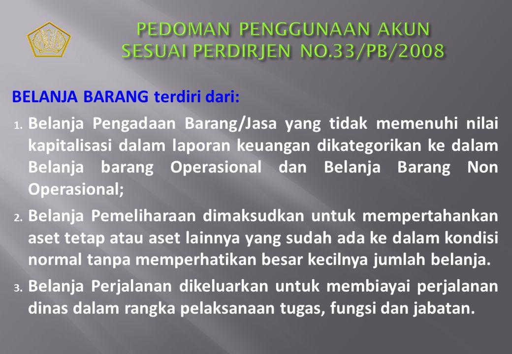 PEDOMAN PENGGUNAAN AKUN SESUAI PERDIRJEN NO.33/PB/2008