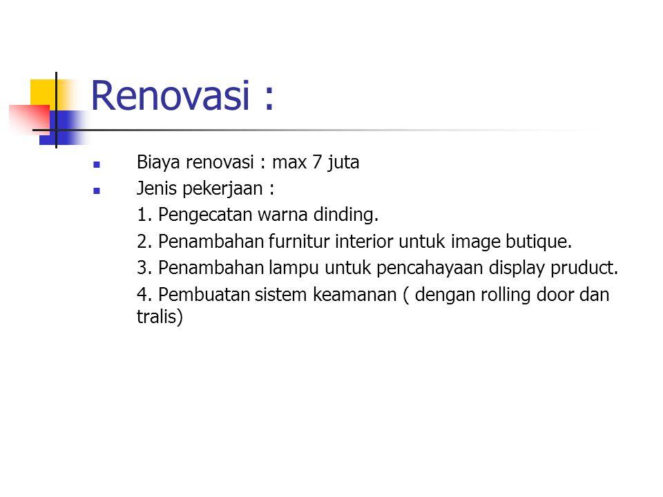 Renovasi : Biaya renovasi : max 7 juta Jenis pekerjaan :