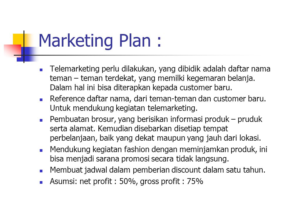 Marketing Plan :