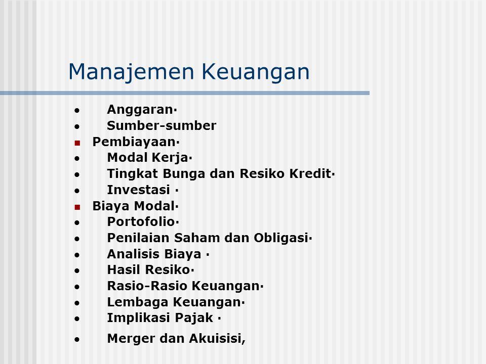 Manajemen Keuangan · Anggaran· · Sumber-sumber Pembiayaan·