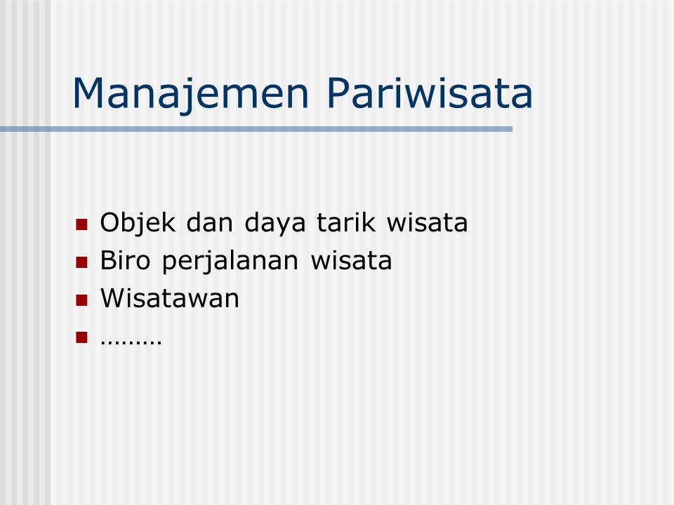 Manajemen Pariwisata Objek dan daya tarik wisata