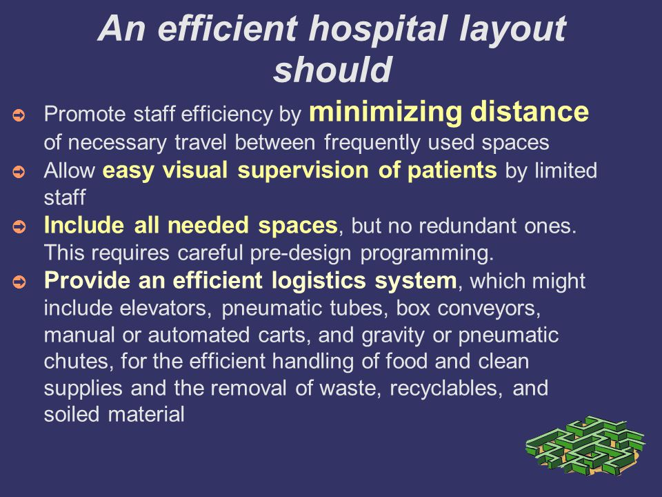 An efficient hospital layout should