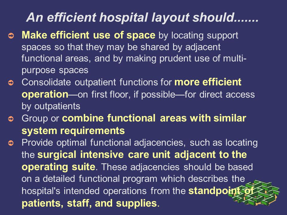 An efficient hospital layout should.......