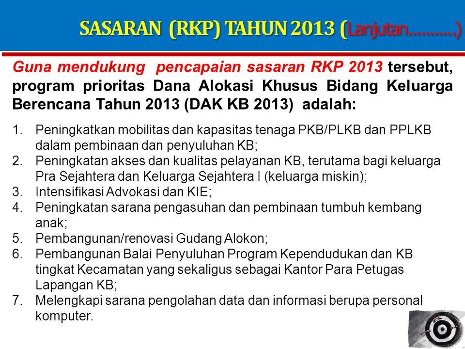 SASARAN (RKP) TAHUN 2013 (Lanjutan...........)