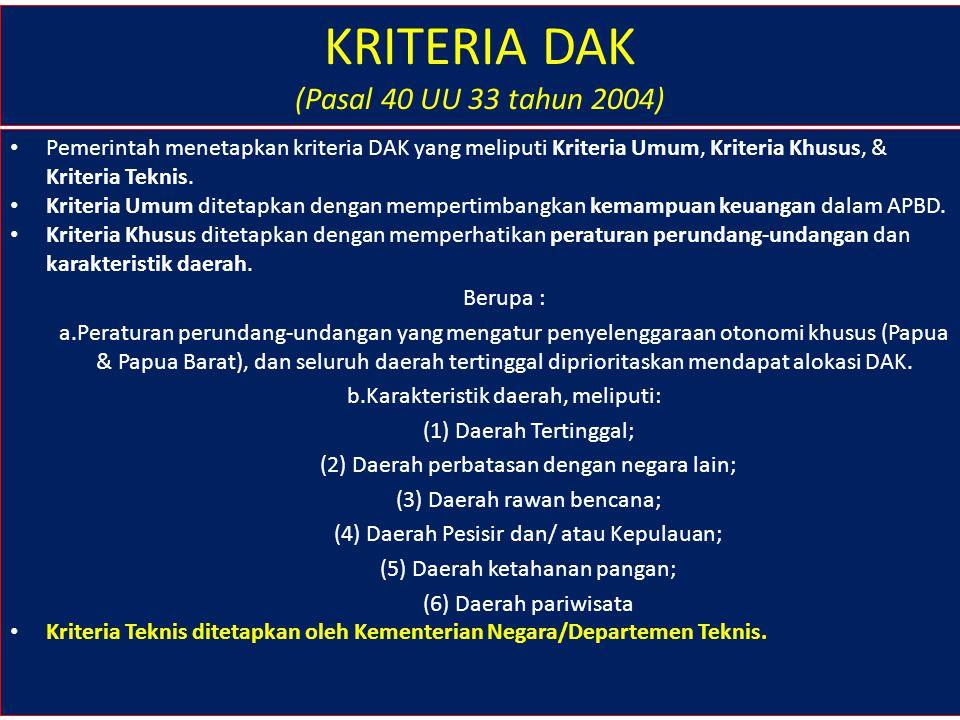 KRITERIA DAK (Pasal 40 UU 33 tahun 2004)