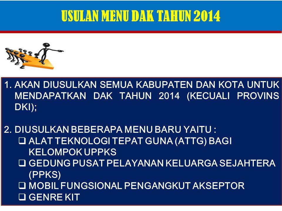 USULAN MENU DAK TAHUN 2014 AKAN DIUSULKAN SEMUA KABUPATEN DAN KOTA UNTUK MENDAPATKAN DAK TAHUN 2014 (KECUALI PROVINS DKI);
