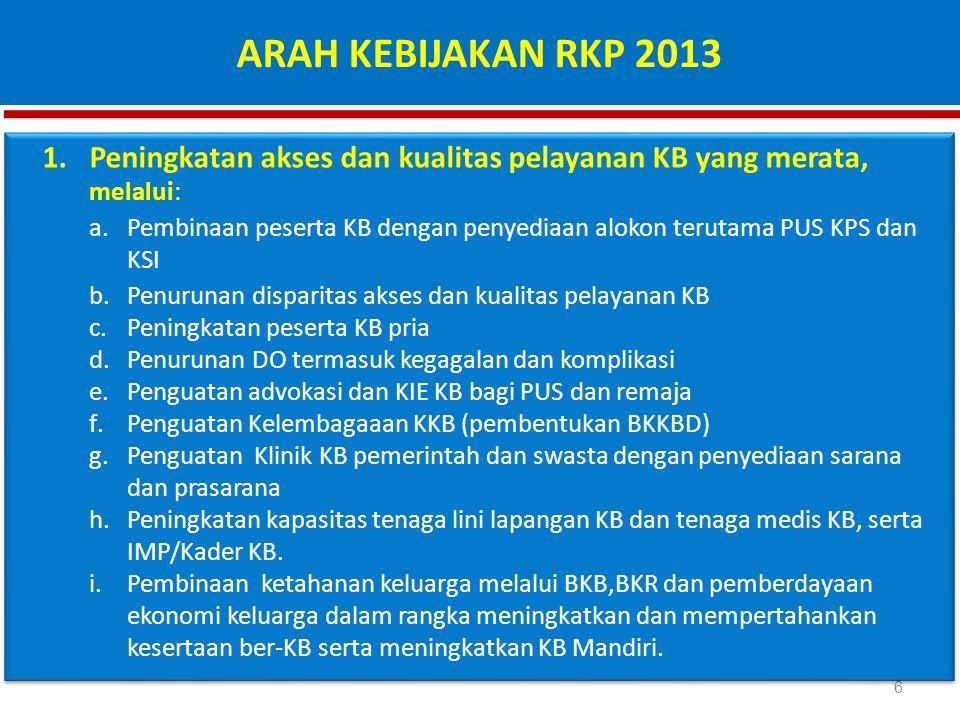 ARAH KEBIJAKAN RKP 2013 Peningkatan akses dan kualitas pelayanan KB yang merata, melalui: