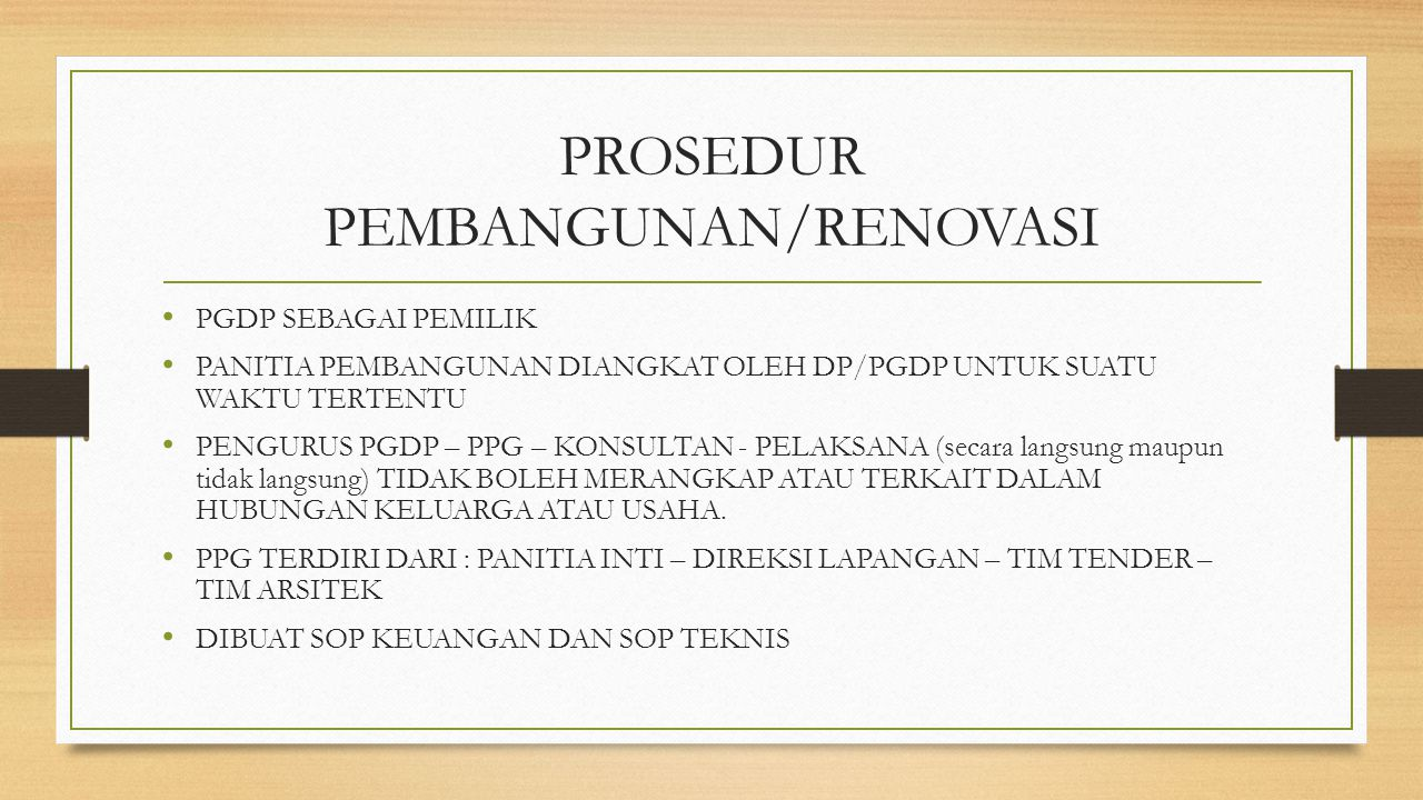 PROSEDUR PEMBANGUNAN/RENOVASI