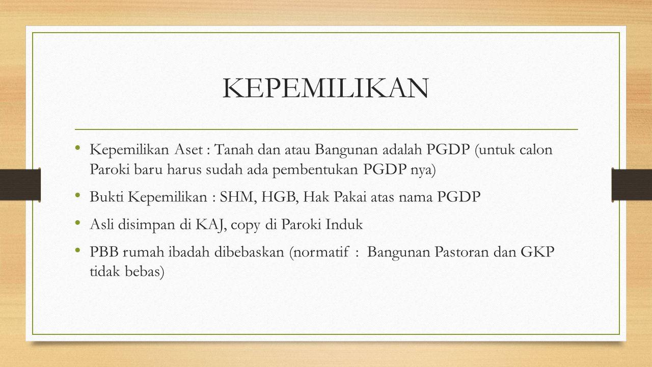 KEPEMILIKAN Kepemilikan Aset : Tanah dan atau Bangunan adalah PGDP (untuk calon Paroki baru harus sudah ada pembentukan PGDP nya)