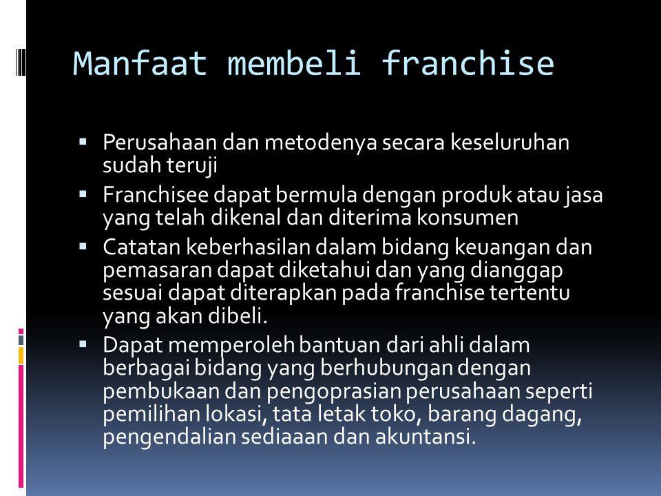 Manfaat membeli franchise