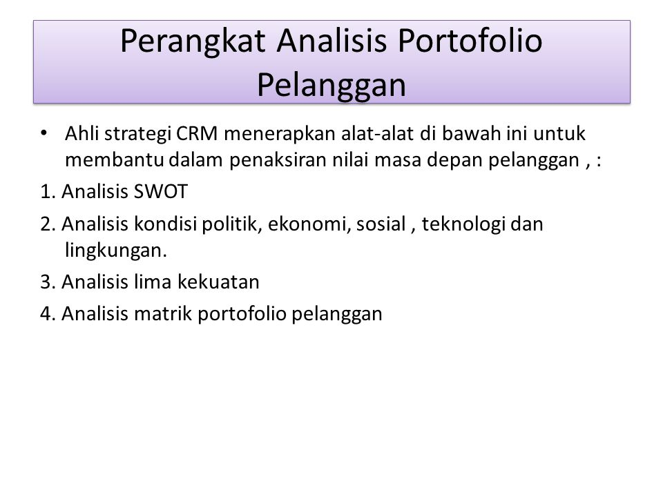 Perangkat Analisis Portofolio Pelanggan