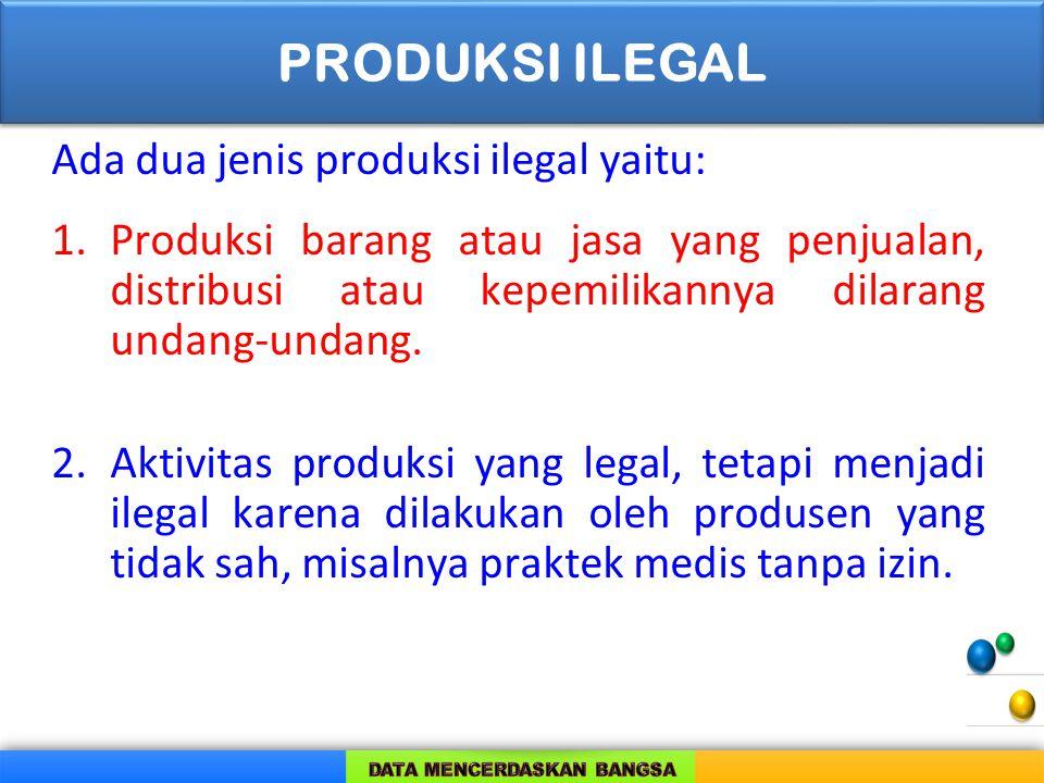 PRODUKSI ILEGAL Ada dua jenis produksi ilegal yaitu: