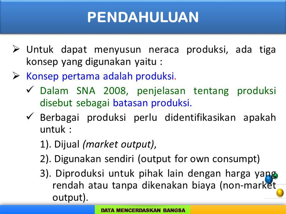 PENDAHULUAN Untuk dapat menyusun neraca produksi, ada tiga konsep yang digunakan yaitu : Konsep pertama adalah produksi.