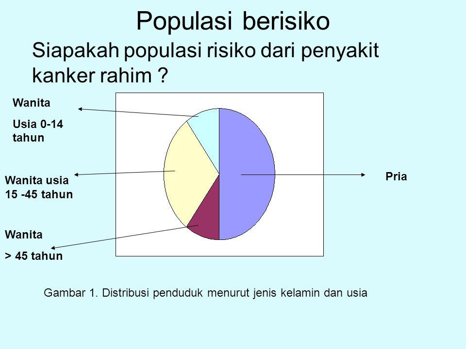 Populasi berisiko Siapakah populasi risiko dari penyakit kanker rahim Wanita. Usia 0-14 tahun. Pria.