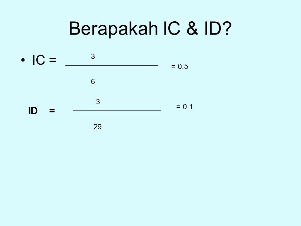 Berapakah IC & ID IC = 3 = 0.5 6 3 = 0.1 ID = 29