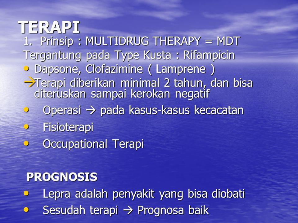 TERAPI 1. Prinsip : MULTIDRUG THERAPY = MDT