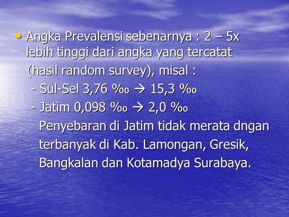 Angka Prevalensi sebenarnya : 2 – 5x lebih tinggi dari angka yang tercatat