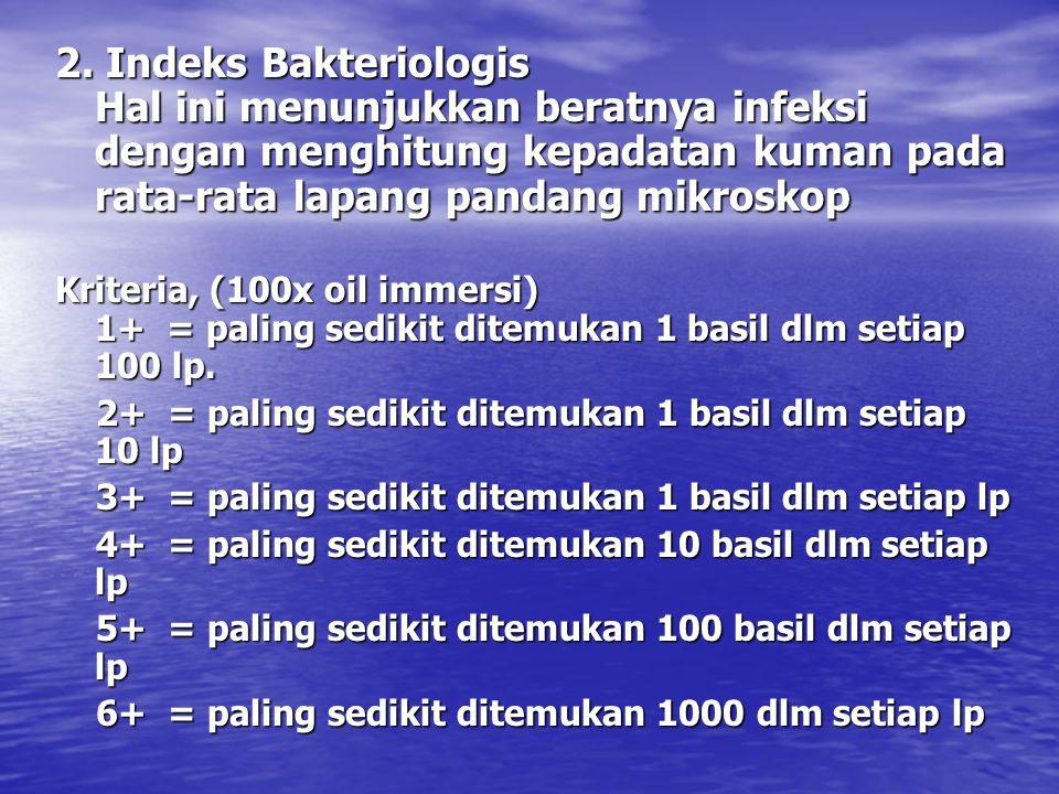 2. Indeks Bakteriologis Hal ini menunjukkan beratnya infeksi dengan menghitung kepadatan kuman pada rata-rata lapang pandang mikroskop