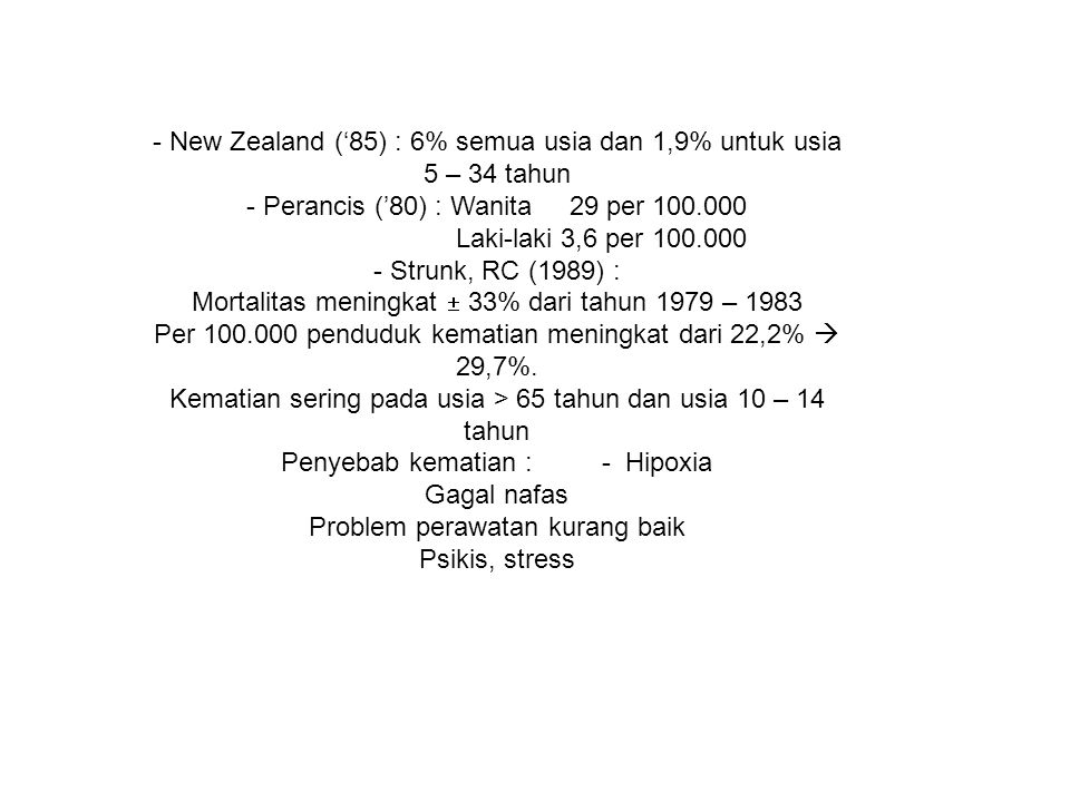 - New Zealand ('85) : 6% semua usia dan 1,9% untuk usia 5 – 34 tahun