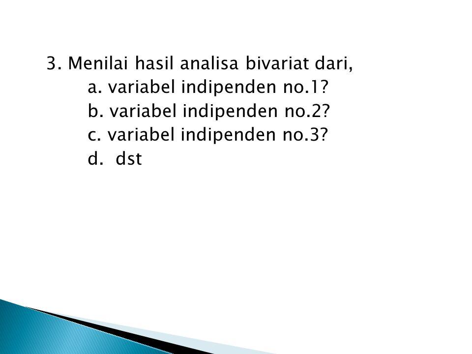 3. Menilai hasil analisa bivariat dari, a. variabel indipenden no.1.