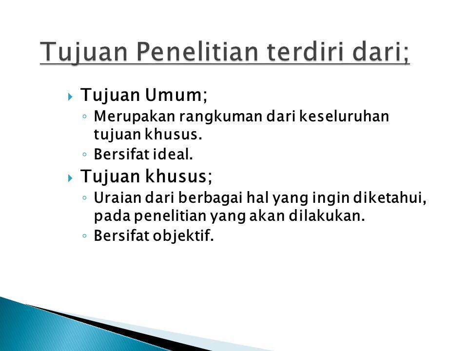 Tujuan Penelitian terdiri dari;
