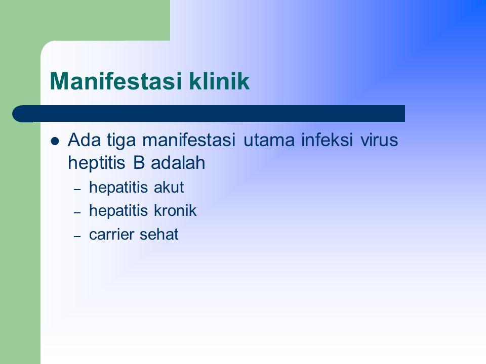 Manifestasi klinik Ada tiga manifestasi utama infeksi virus heptitis B adalah. hepatitis akut. hepatitis kronik.