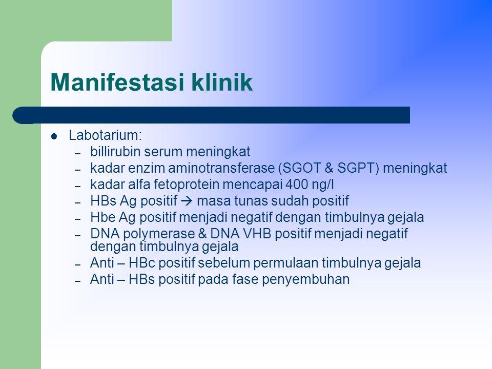 Manifestasi klinik Labotarium: billirubin serum meningkat