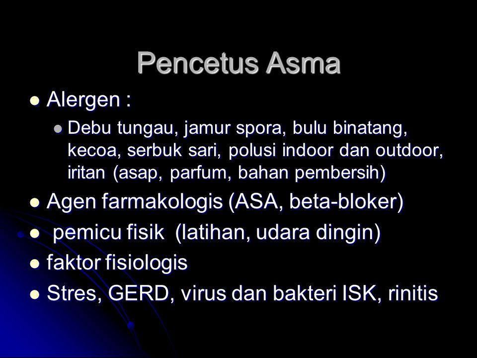 Pencetus Asma Alergen : Agen farmakologis (ASA, beta-bloker)