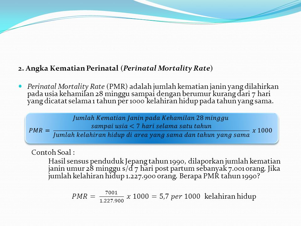 2. Angka Kematian Perinatal (Perinatal Mortality Rate)