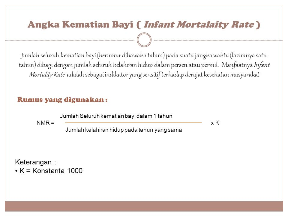 Angka Kematian Bayi ( Infant Mortalaity Rate )