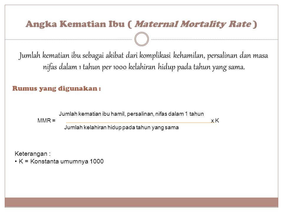 Angka Kematian Ibu ( Maternal Mortality Rate )