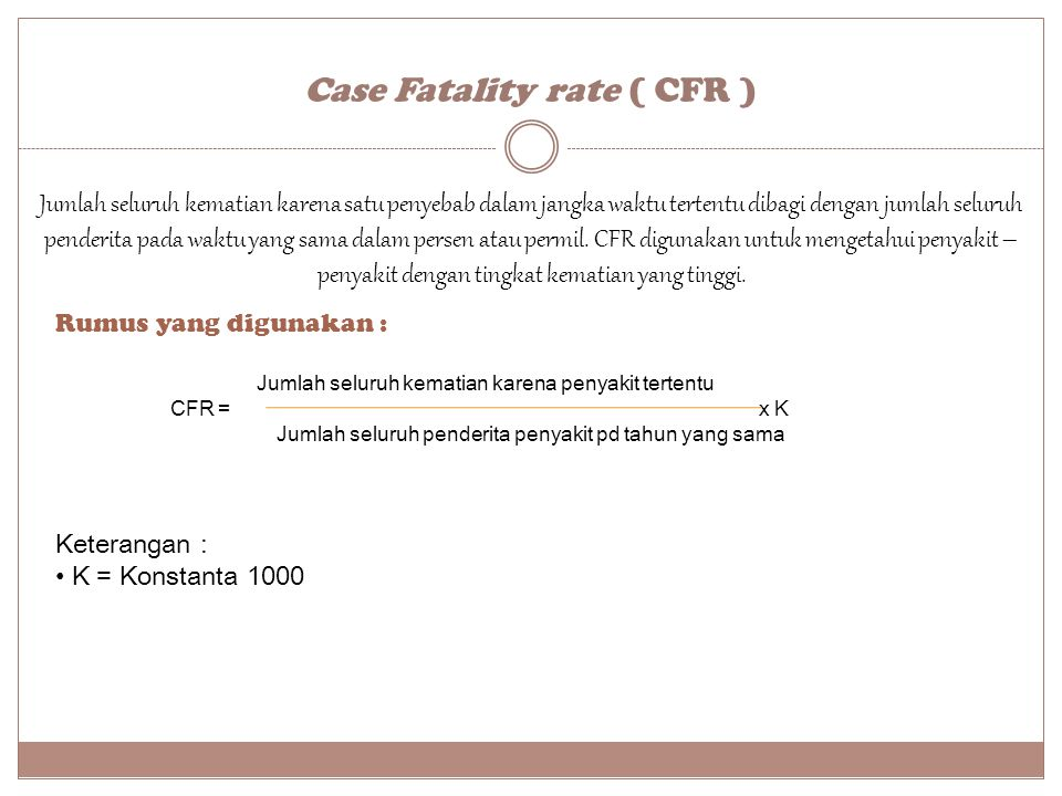 Case Fatality rate ( CFR )